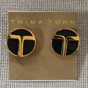 Trina Turk classic black and gold earrings - NWT!